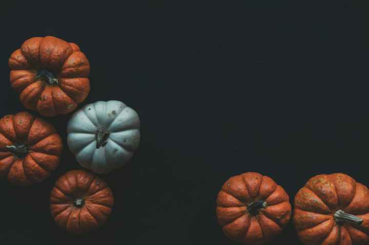 orange and blue pumpkins
